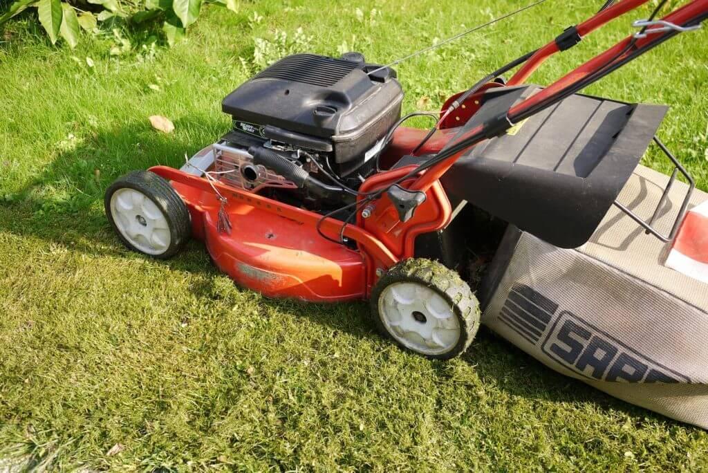 lawnmower cutting grass short